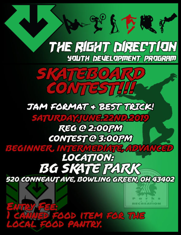 Summer Contest Series: **Skateboarding Only Contest** @ Bowling Green OH Skate Park